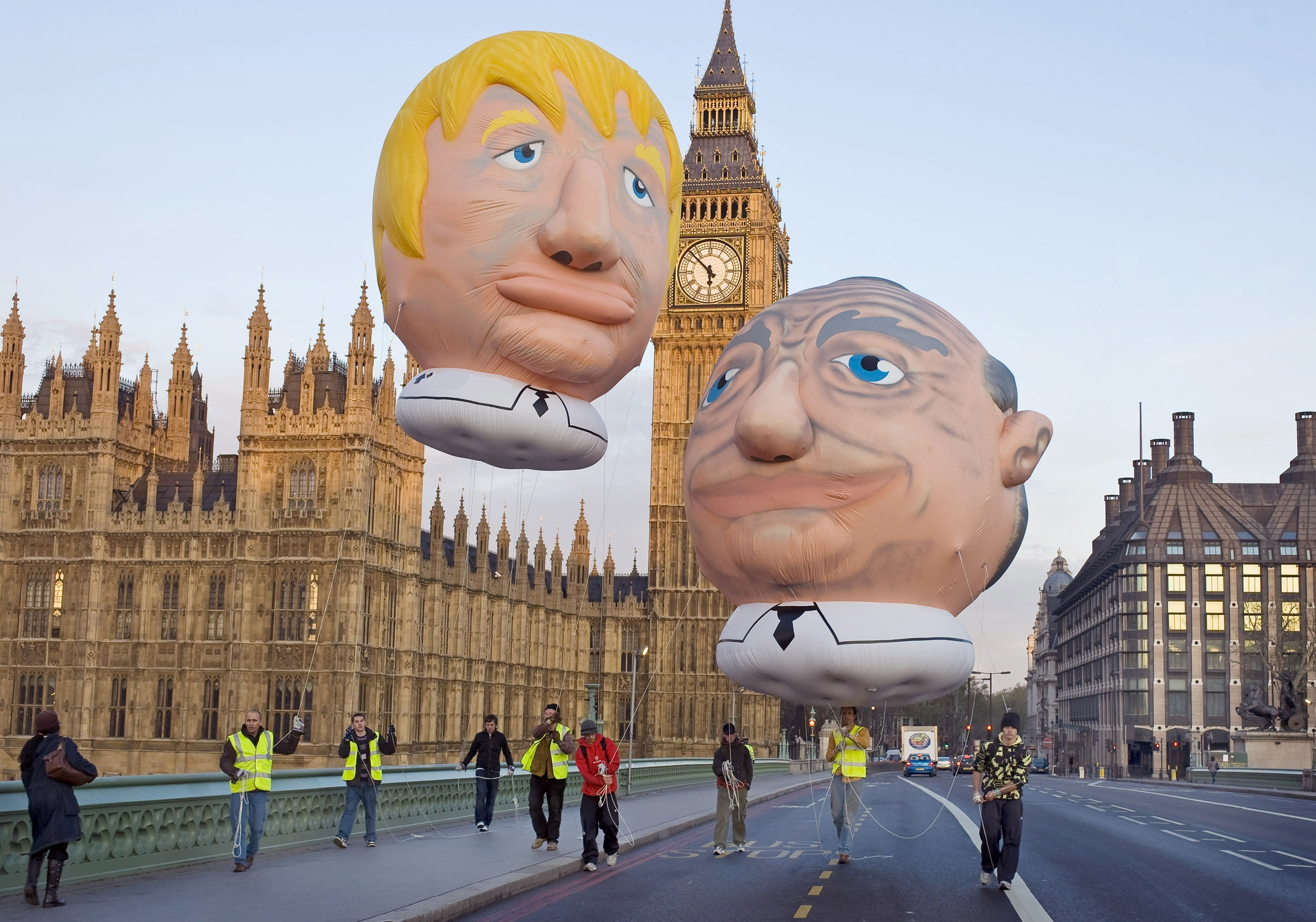 Ken and Boris filled with Hot Air in Westminster today