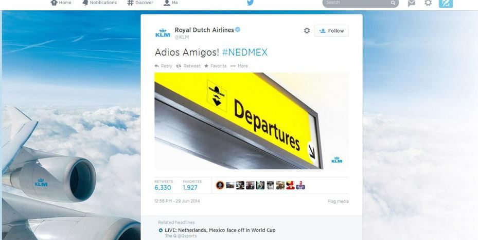 KLM Tweet Screengrab