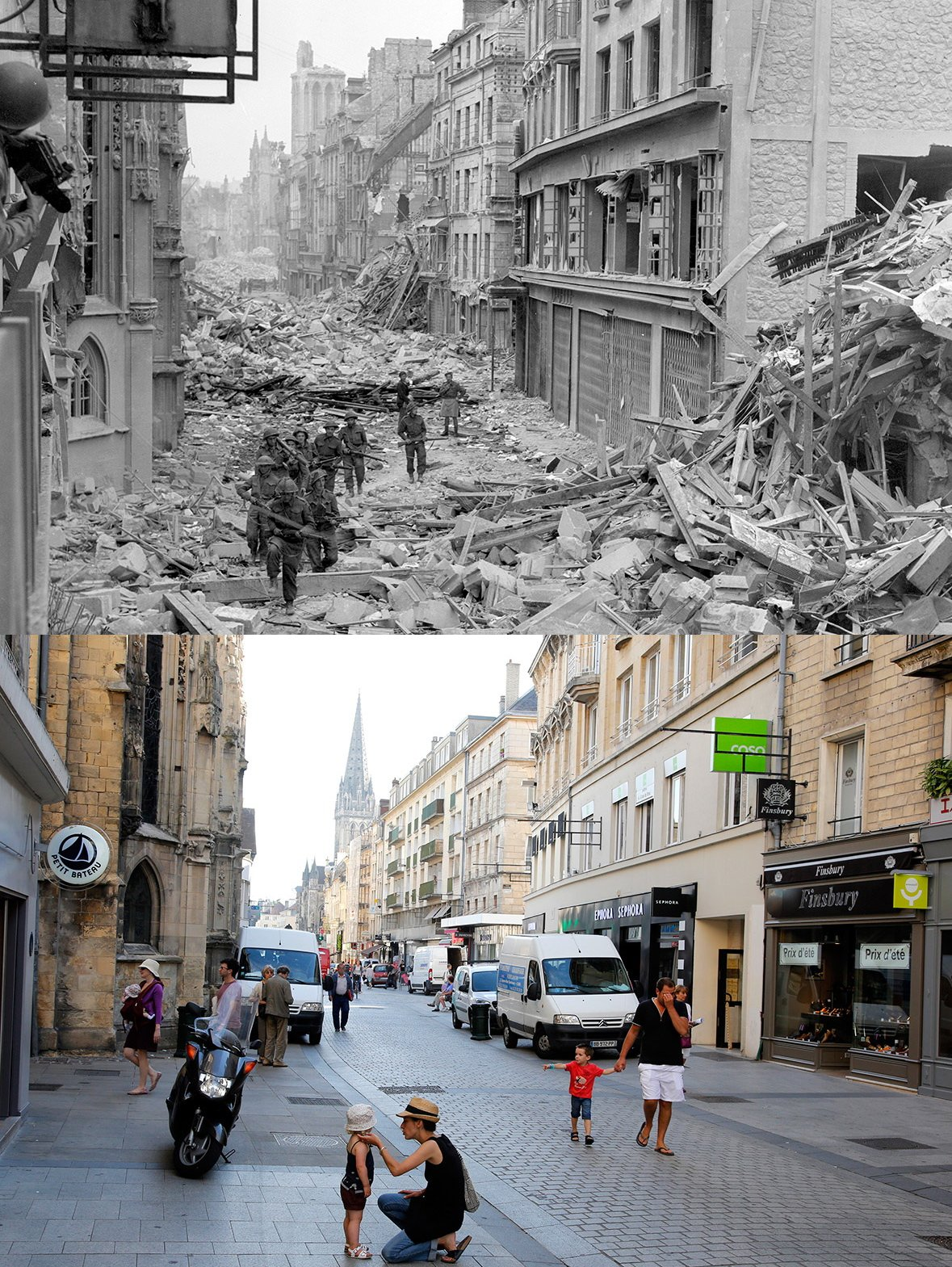 Normandy then and now 7