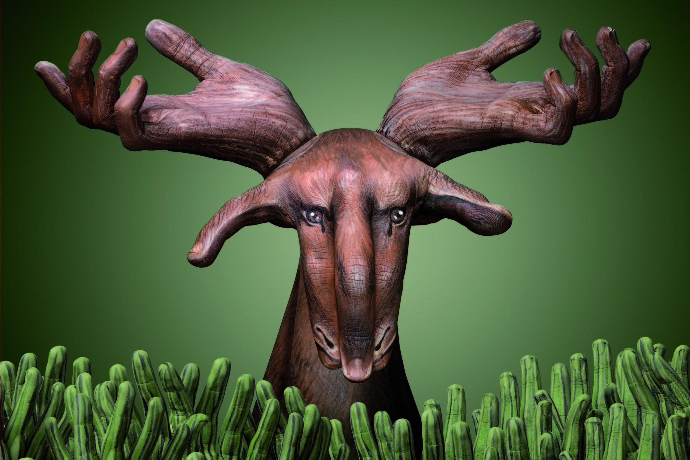 Animal-Hand-Paintings-by-Guido-Daniele-Moose