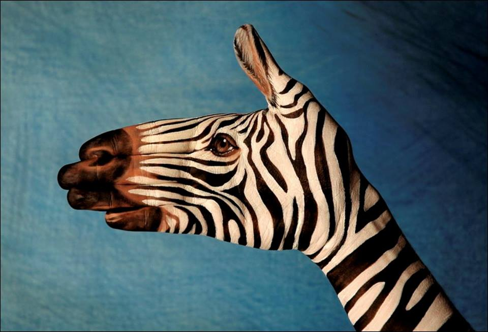 Animal-Hand-Paintings-by-Guido-Daniele-Zebra